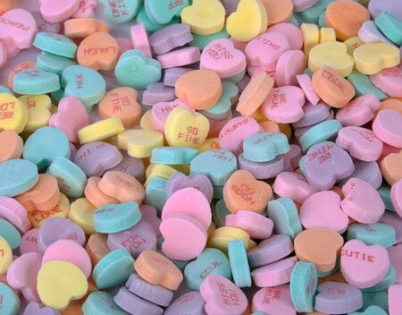 A bunch of colorful Valentine s candy