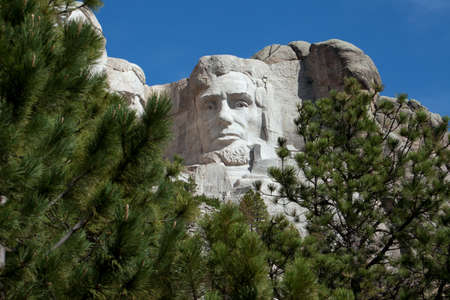 President Abraham Lincoln carved in Mount Rushmore.