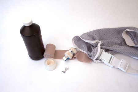 First aid supplies isolated on a white