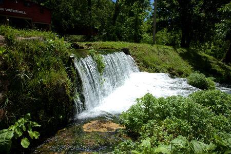 A waterfall flowing through summer foliage.