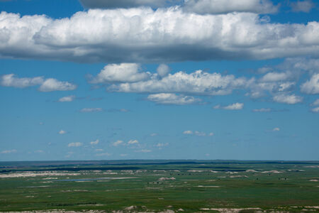 A distant view of the Badlands in South Dakota.
