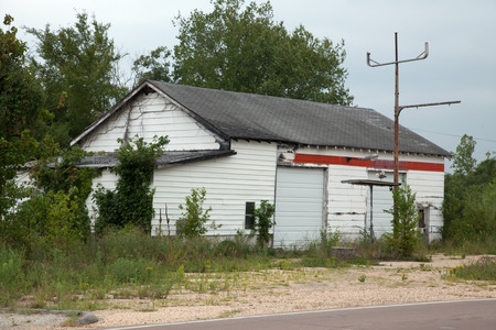 An old abandoned gas station. Stok Fotoğraf