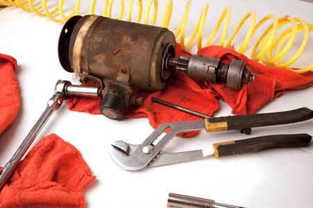 A group of tools on a white background.