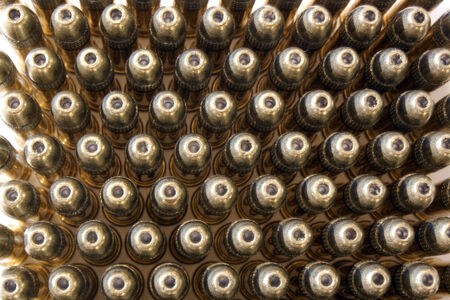 A top view of rows of bullets.