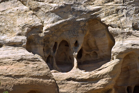 Unusual rock formations on the side of a mountain..