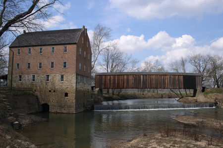 Bollinger Mill with a covered bridge Stok Fotoğraf