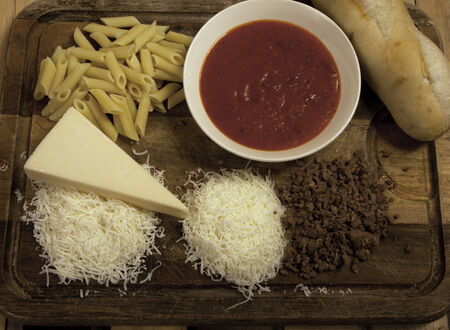 The ingredients used to make a pasta dish.