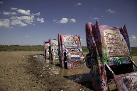 A view of the cars at Cadillac Ranch.