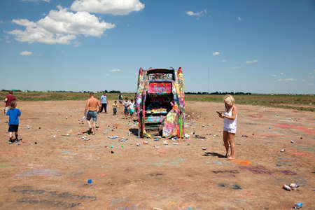 A view of cars and tourists at Cadillac Ranch. Editorial