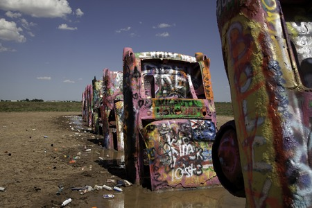A view of cars at Cadillac Ranch. Editorial
