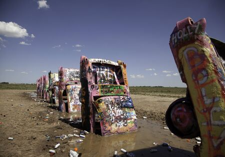Cars at Cadillac Ranch in Amarillo, Texas on July 13, 2015.
