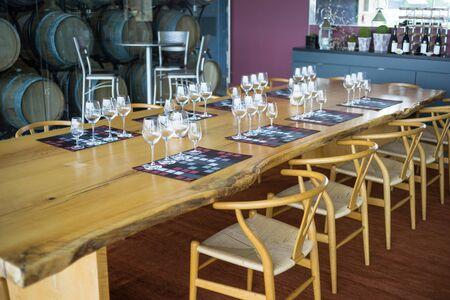 Table set for wine sampling Stok Fotoğraf