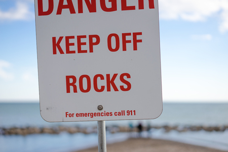 Warning sign on a beach