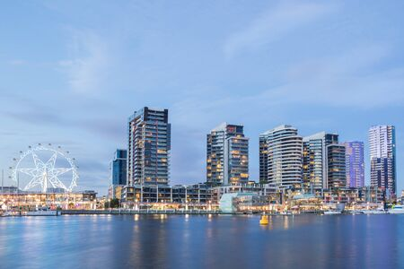 Panoramic image of the Docklands waterfront at night in Melbourne, Australia