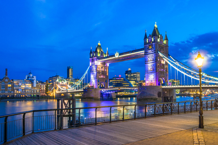 city night: The London Tower Bridge against a blue night sky Stock Photo