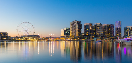 observation: Panoramic image of the docklands waterfront area of Melbourne at night
