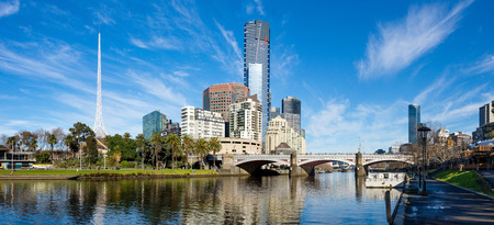 The Yarra River and southbank of Melbournes CBD on a clear winter morning Stock Photo