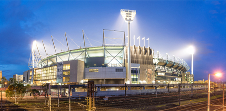 afl: MELBOURNE, AUSTRALIA - MAY 31, 2014: The Melbourne Cricket Ground in Victoria, Australia at night. The MCG is the largest stadium in Australia. Editorial