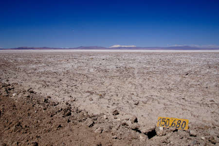 distance marker: A distance marker on the side of the road in the Atacama desert in Chile Stock Photo