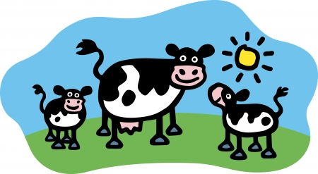 Cow   Calves Vector