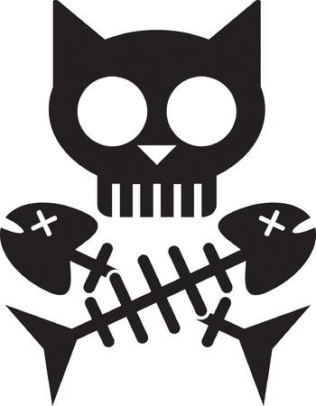 Cat Skull   Bones Иллюстрация