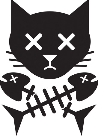 dead fish: Cat Skull   Bones Illustration