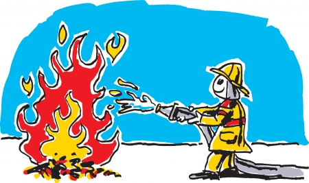 Child s Fireman Drawing Vector