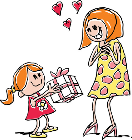 Child giving mum present Vector