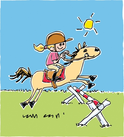 Childs Equestrian Drawing Vector