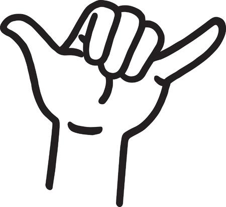 Hang Loose Hand Signal Vector