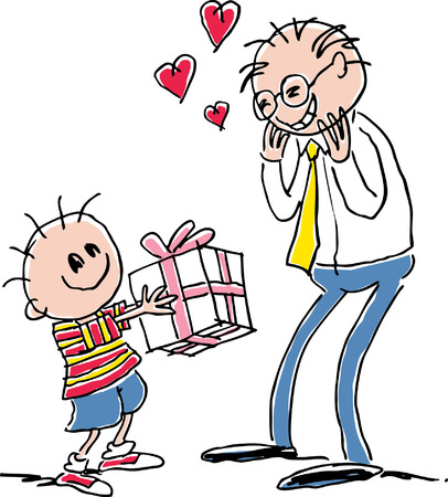 Child giving present Vector