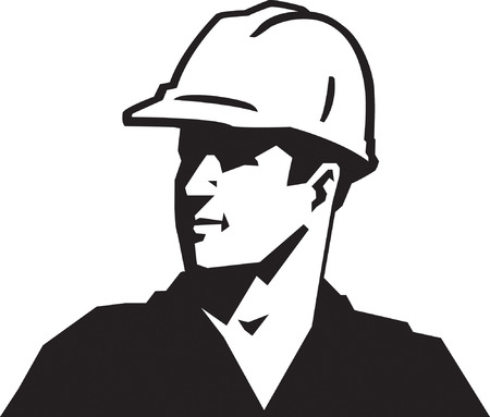 looking away: Construction Guy Illustration
