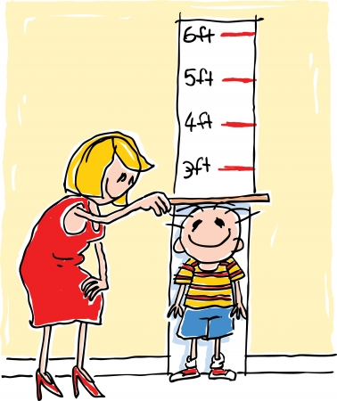 Child with height chart Stock Illustratie