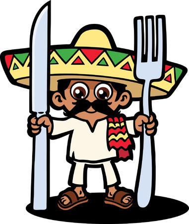 Hungry mexicano Ilustración de vector