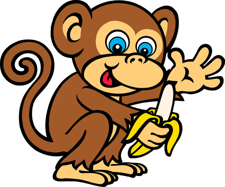 Monkey Eating Banana Vector