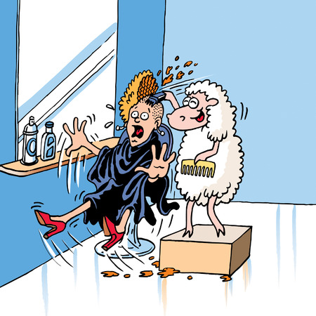 cartoon hairdresser: Sheep Sharing