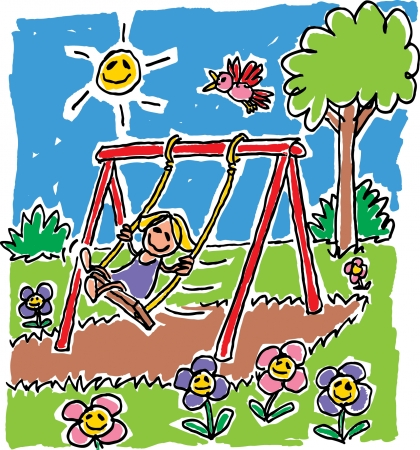 Girl on Swing Vector
