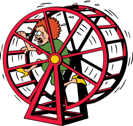 worried executive: Hamster Wheel Illustration