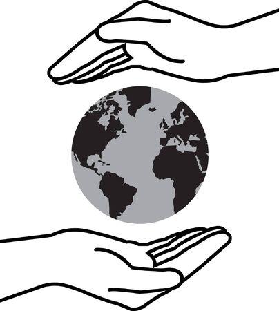 인간의 손에: 손 세계 일러스트
