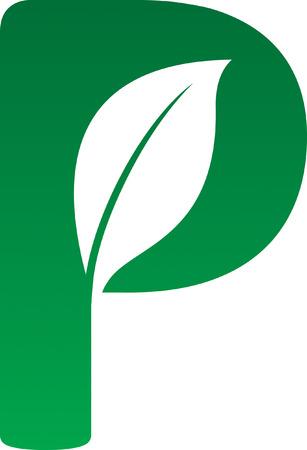 letter p: Leaf Icon