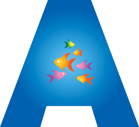 Fish in alphabet A Vector