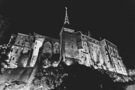 mont saint michel: Mont saint Michel by night Stock Photo