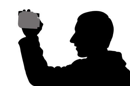 digicam: silhouette man with digicam recording video