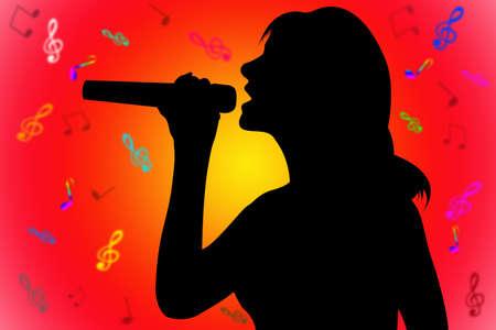 silhouette plus de la chanteuse rouge-jaune avec des notes de fond
