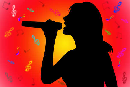 singer silhouette: silhouette singer over the red-yellow with notes background