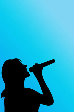 melodious: silhouette singer woman over blue Stock Photo