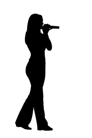 person silhouette: silhouette singing woman over white