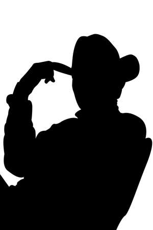 cowboy silhouette: cowboy silhouette over white with clipping path Stock Photo