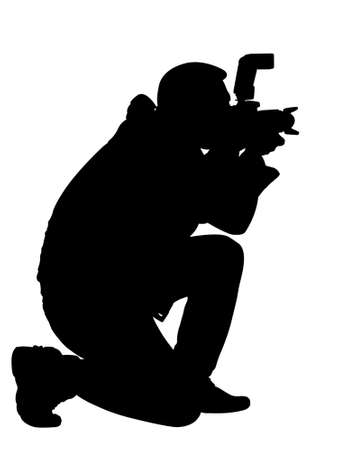 silhouette photographer over white  Stock Photo