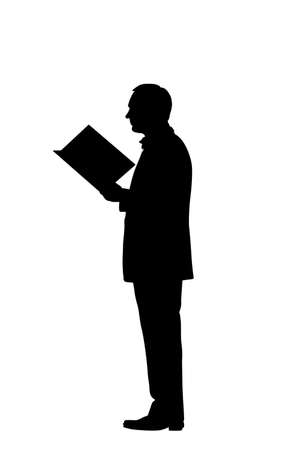 reading man silhouette over white